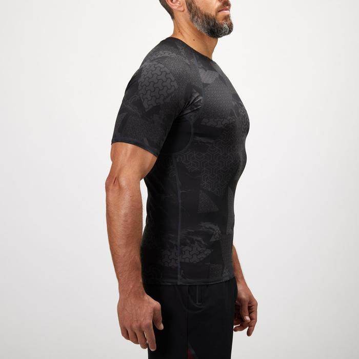Fitness shirt 500 compressie voor heren, zwart/grijs