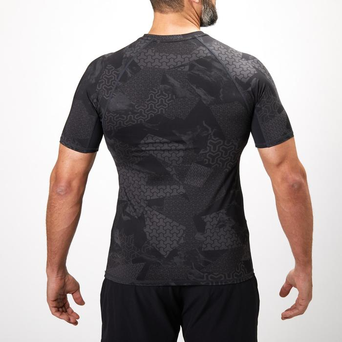 Compressie T-shirt krachttraining voor heren zwart/grijs