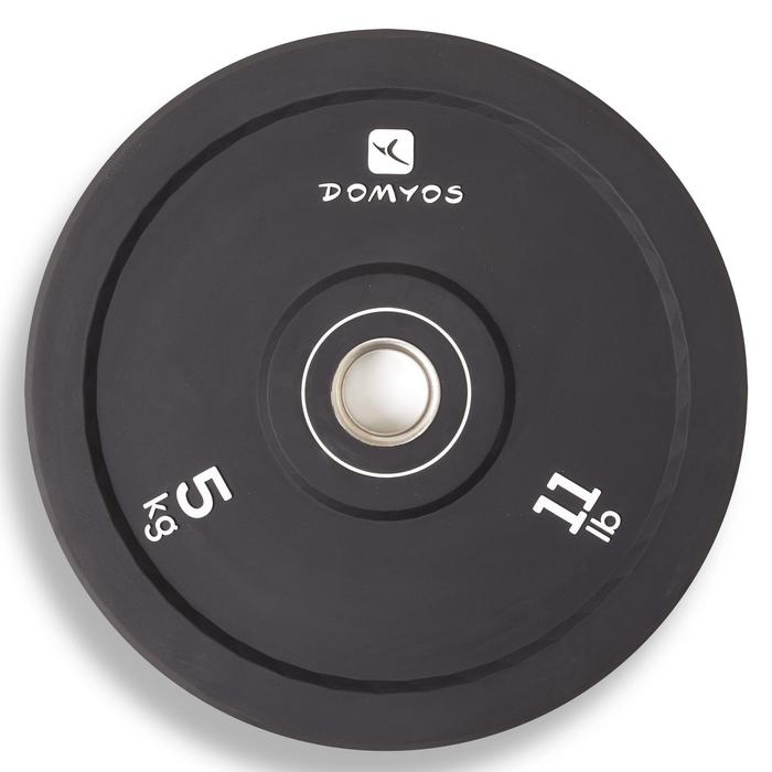 Disco Bumper Halterofilia Musculación Domyos 5Kg Diámetro 50mm Negro