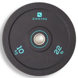 Disco Bumper Halterofilia Domyos 10kg Diámetro 50mm Negro/Verde