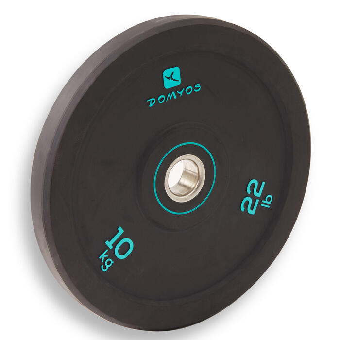 Disque bumper d'haltérophilie 10 kg, diamètre intérieur 50 mm
