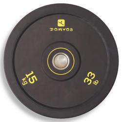 Disco bumper de halterofilia Domyos de 15 kg, diámetro interior 50 mm