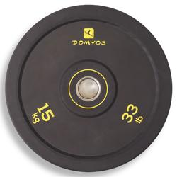 Halterschijf bumper 15 kg, binnendiameter 50 mm