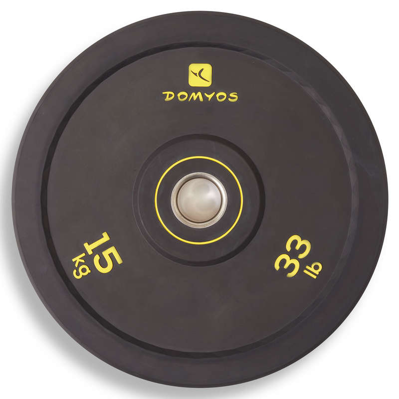 BARRE E PESI CROSS TRAINING Fitness - Disco bumper 15kg DOMYOS - Attrezzi palestra