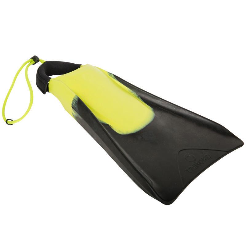 Palmes bodyboard 500 noir jaune avec leash