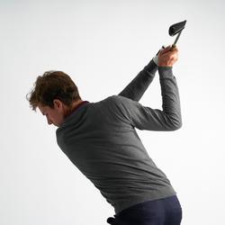 男款高爾夫立領針織衫-深灰色
