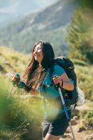 Women's Mountain Hiking Short-Sleeved T-Shirt MH100 - Turquoise