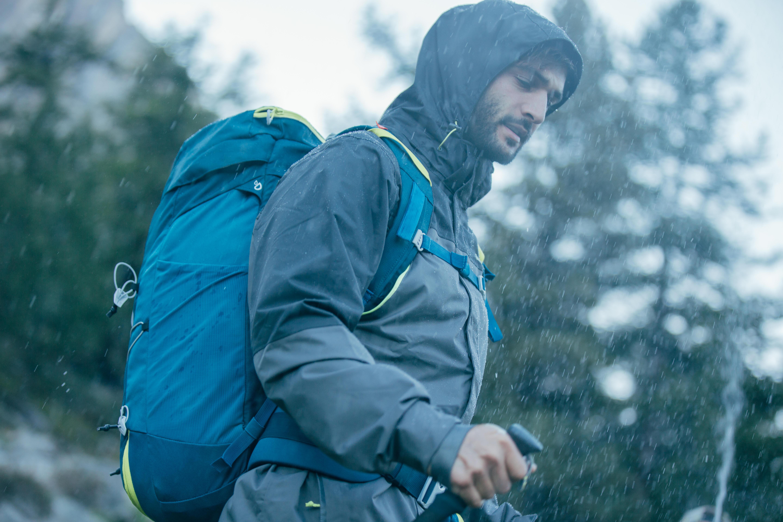 MH100 Men's Waterproof Mountain Hiking Rain Jacket - Grey Black