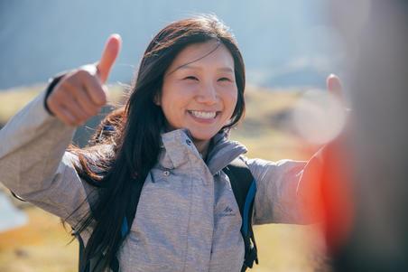 Chamarra impermeable de senderismo de montaña para mujer MH100 Ciruela moteado