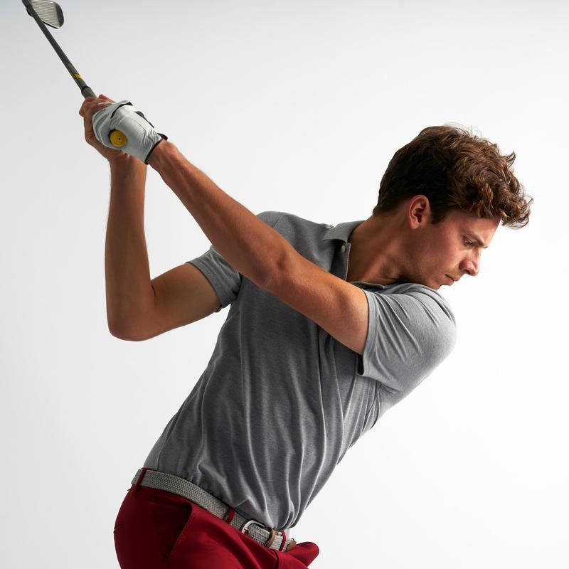 Polo de golf homme manches courtes 500 temps tempéré gris chiné