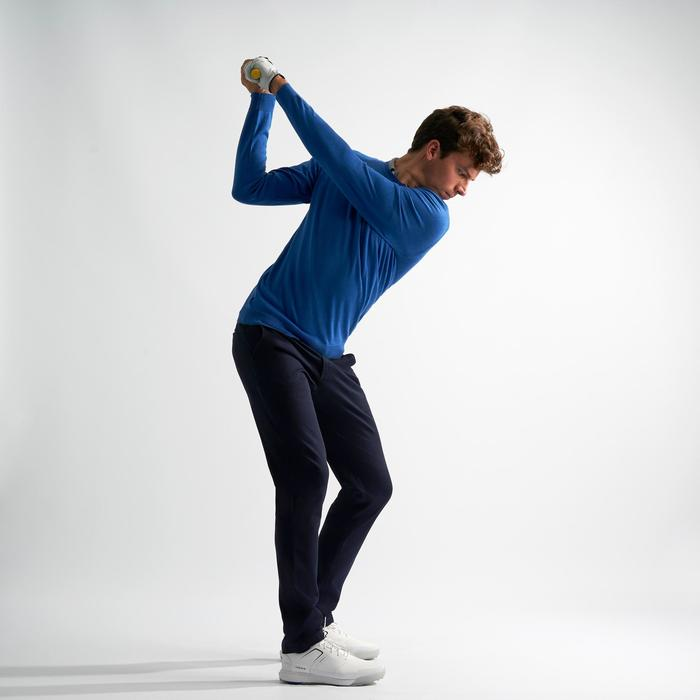 男款溫和氣候防風高爾夫針織衫-刷色電光藍