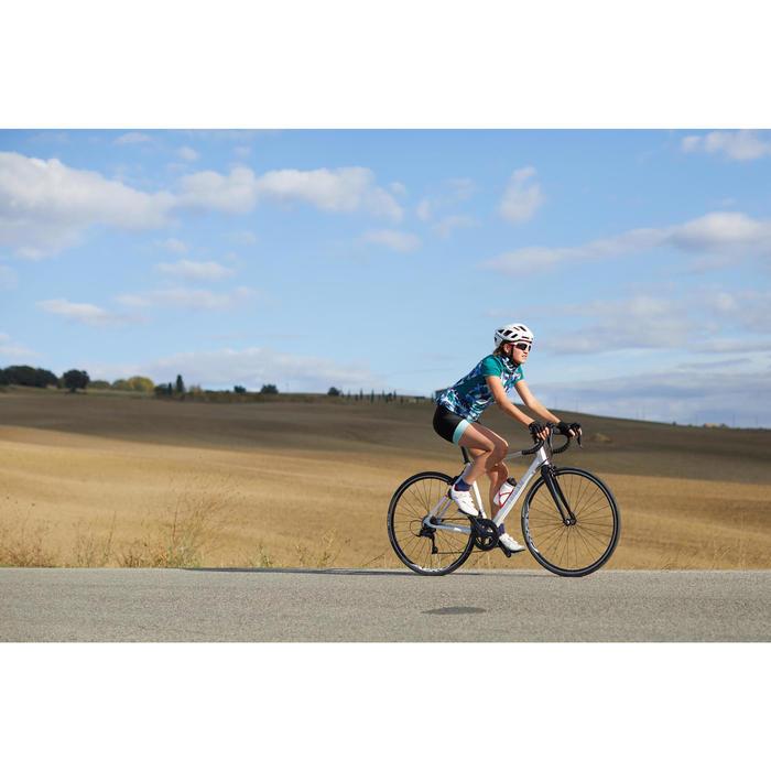 Kurze Radhose Rennrad RC 500 Damen schwarz/mintgrün