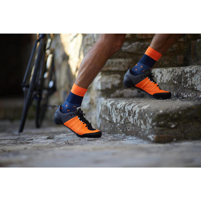 ZAPATILLAS CICLISMO DE CARRETERA SPD TRIBAN RC 500 NARANJA/GRIS