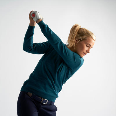 Women's Golf Pullover - Petrol Blue