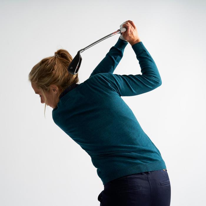 Golftrui voor dames zacht weer donker petroleumblauw