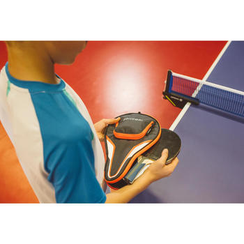 HOUSSE DE RAQUETTE DE TENNIS DE TABLE TTC 130 GRISE-ORANGE
