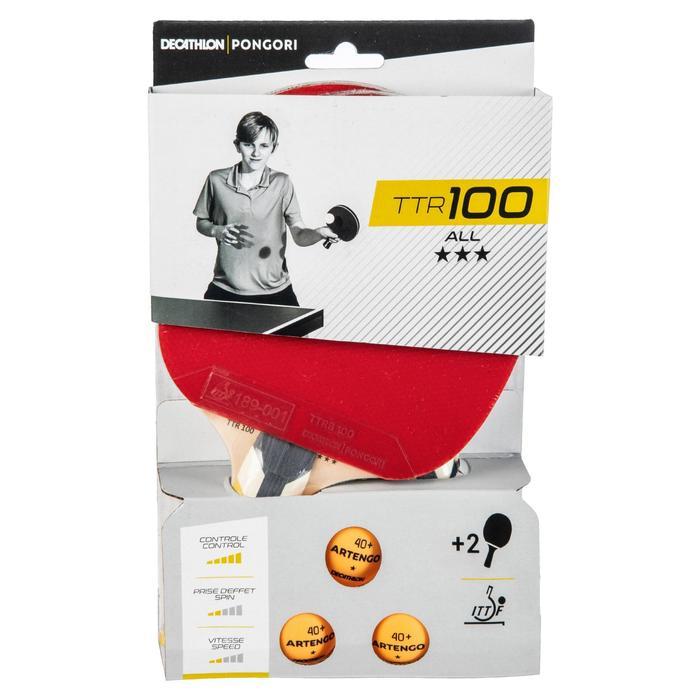Tischtennis-Set 2 Schläger TTR 100 3* Allround und 3 Bälle orange TTB 100* 40+