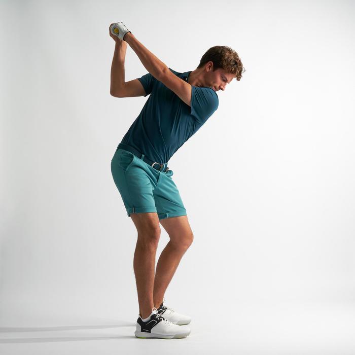 Golfshort voor heren zacht weer grijsblauw
