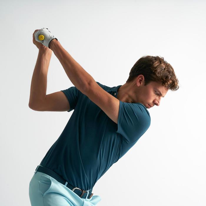 Golfpolo voor heren petrolblauw