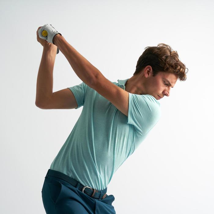 Polo de golf homme manches courtes 500 temps tempéré turquoise chiné
