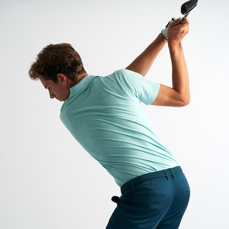 500 Men's Golf Short Sleeve Temperate Weather Polo Shirt - Heather Turquoise