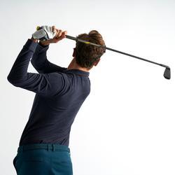 Golfpolo met lange mouwen voor heren jeansblauw