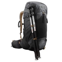 Men's Mountain Trekking Backpack Trek500 50 L + 10 L - Black