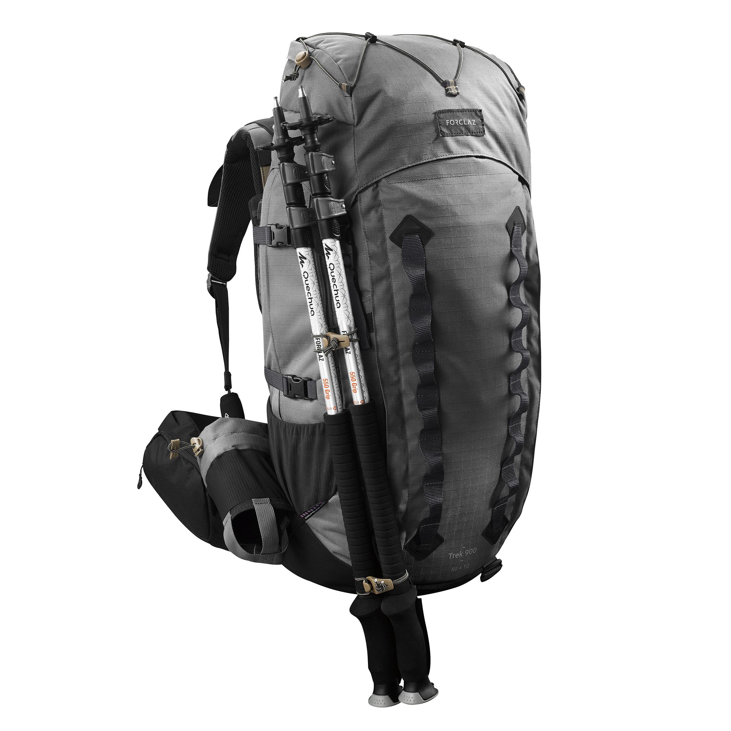 0a9f9675ea5 Forclaz Bergsport rugzak voor heren Trek 900 50 l + 10 l grijs | Decathlon