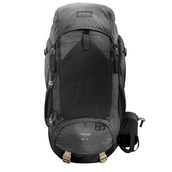 Bergsport rugzak voor heren Trek 500 50 l +10 l zwart