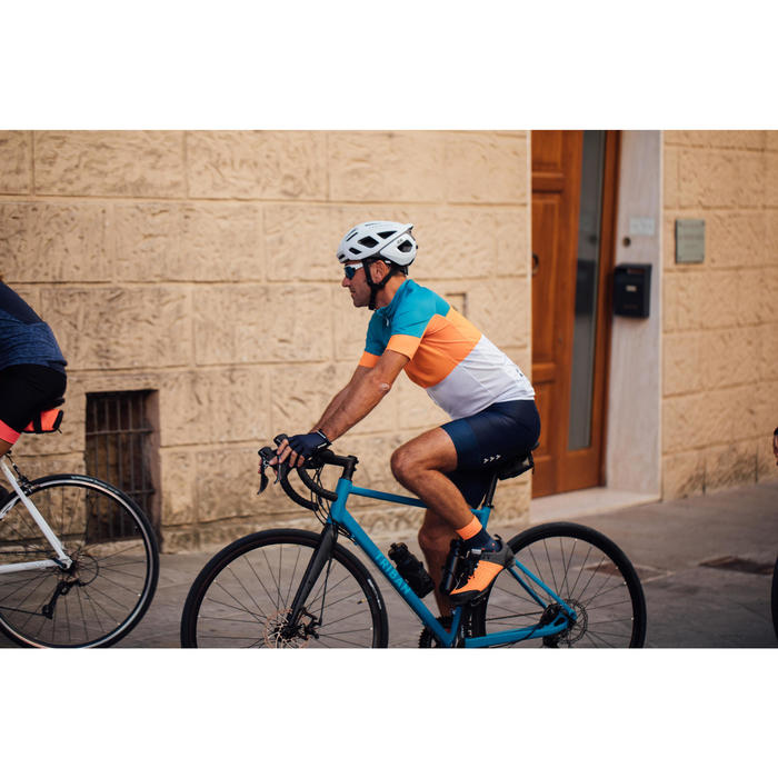 Cuissard vélo route à bretelles homme cyclotourisme RC500 bleu marine avec poche