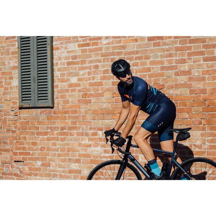 Cuissard vélo route sans bretelles homme cyclotourisme RC500 marine avec poche