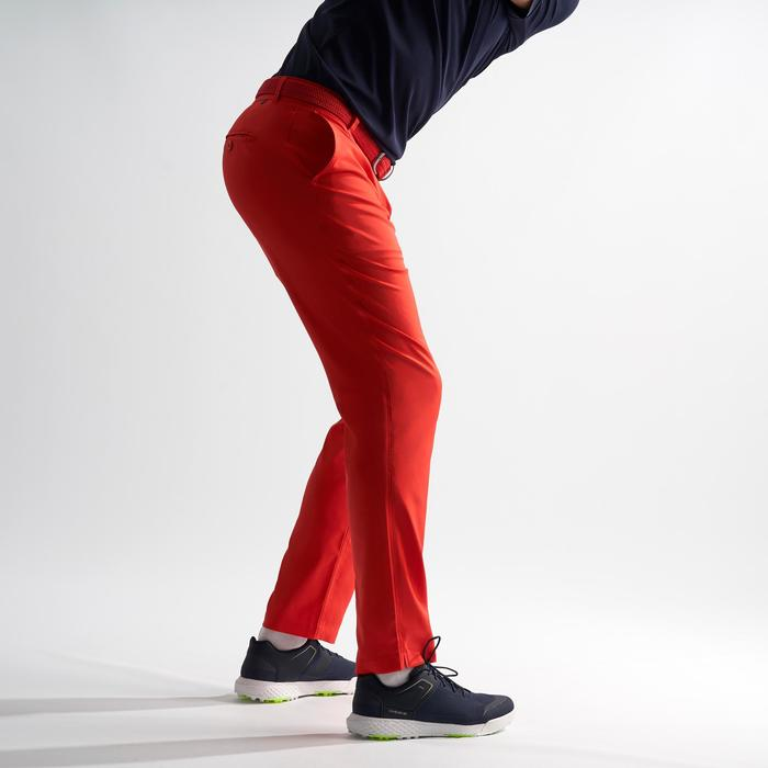 Golfbroek voor heren warm weer koraalrood