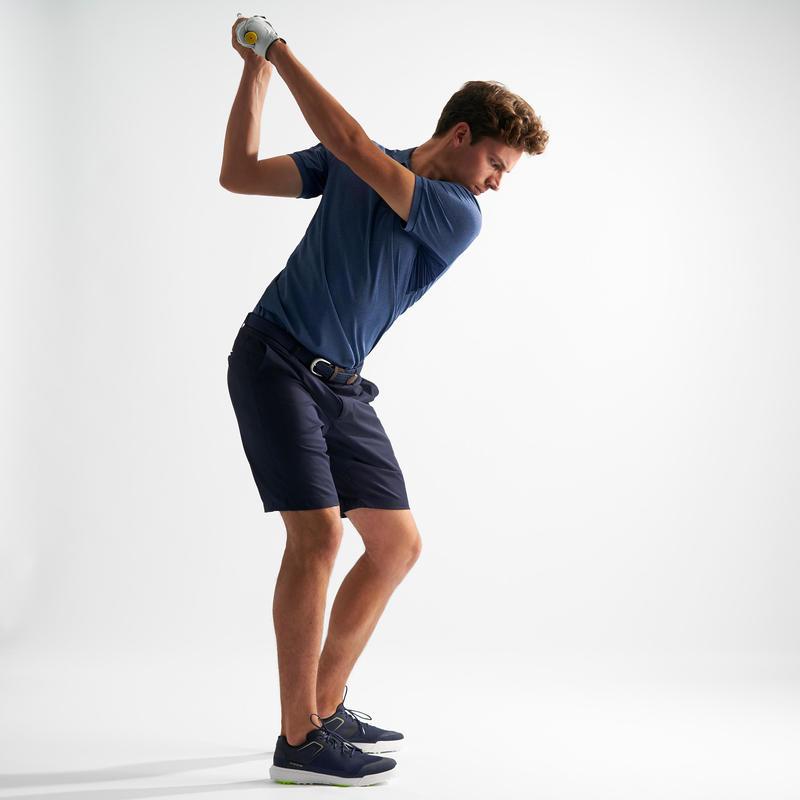 เสื้อโปโลผู้ชายสำหรับใส่ตีกอล์ฟในสภาพอากาศร้อน (สีน้ำเงิน Mottled Blue)