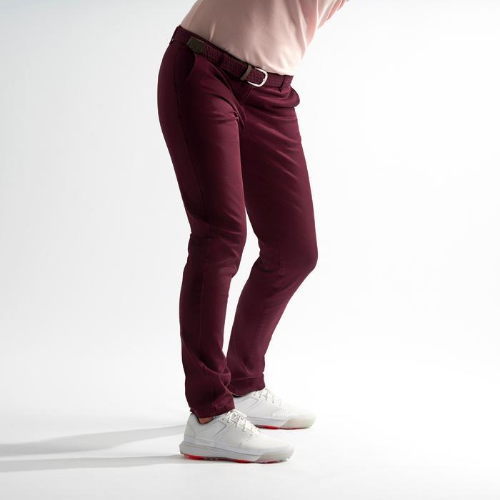 女款高爾夫長褲-酒紅色