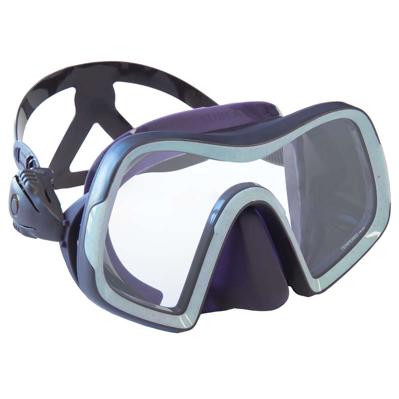 SCD MASKS & SNORKELS Scuba Diving - SCD500 mask mono Purple/Blue SUBEA - Scuba Diving Equipment