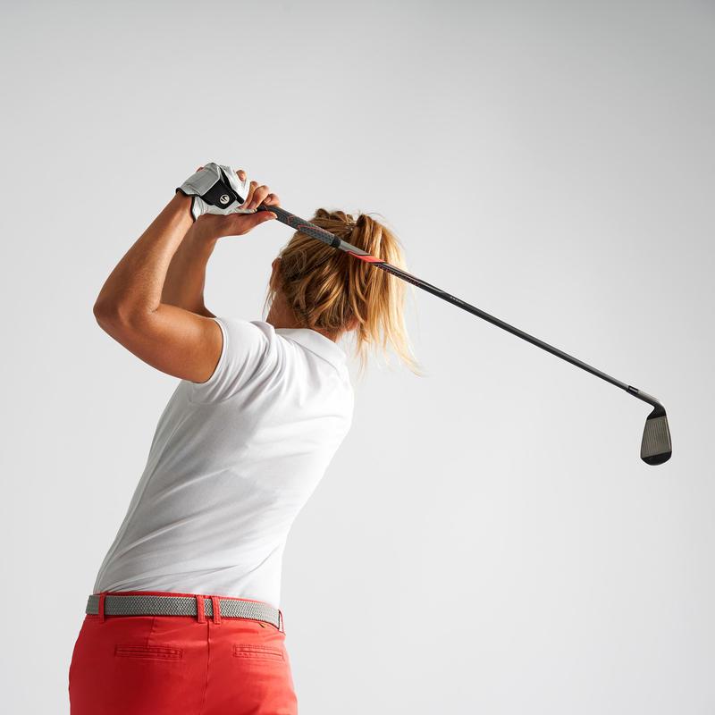 Polera polo de golf mujer manga corta 500 clima caluroso blanca