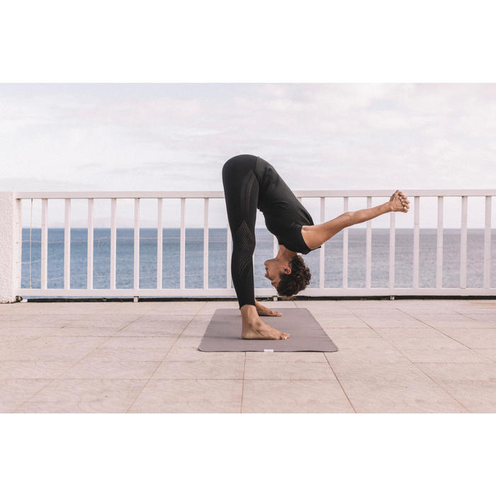 T-Shirt für dynamisches Yoga nahtlos Damen luftiges Muster schwarz