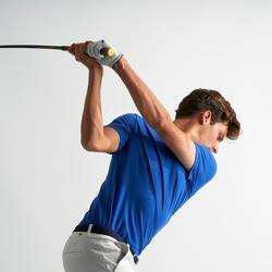 男款溫和氣候短袖高爾夫球POLO衫-刷色電光藍
