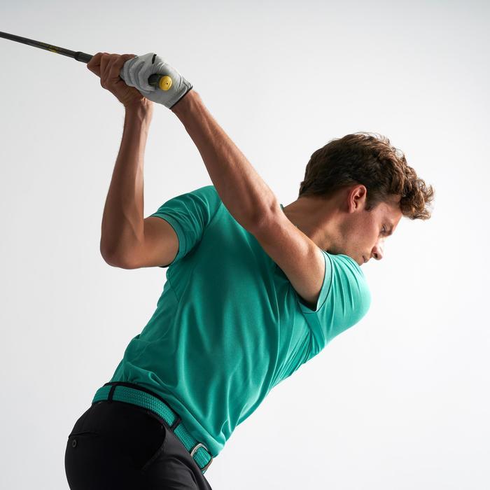 Ademende golfpolo voor heren turkooisgroen