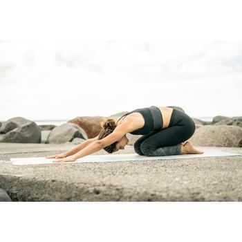 Mallas Piratas Leggings Deportivos Yoga Domyos 500 Slim Sin costuras Mujer Negro
