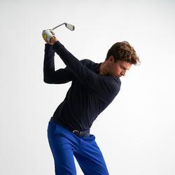 Golfpolo met lange mouwen voor heren marineblauw