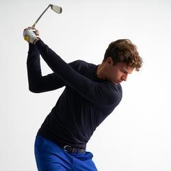 男款溫和氣候圓領高爾夫球針織衫-軍藍色