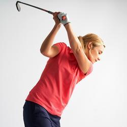 Ademende golfpolo voor dames gemêleerd aardbeirood