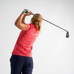 Golfpolo voor dames korte mouwen warm weer gemêleerd aardbeiroze
