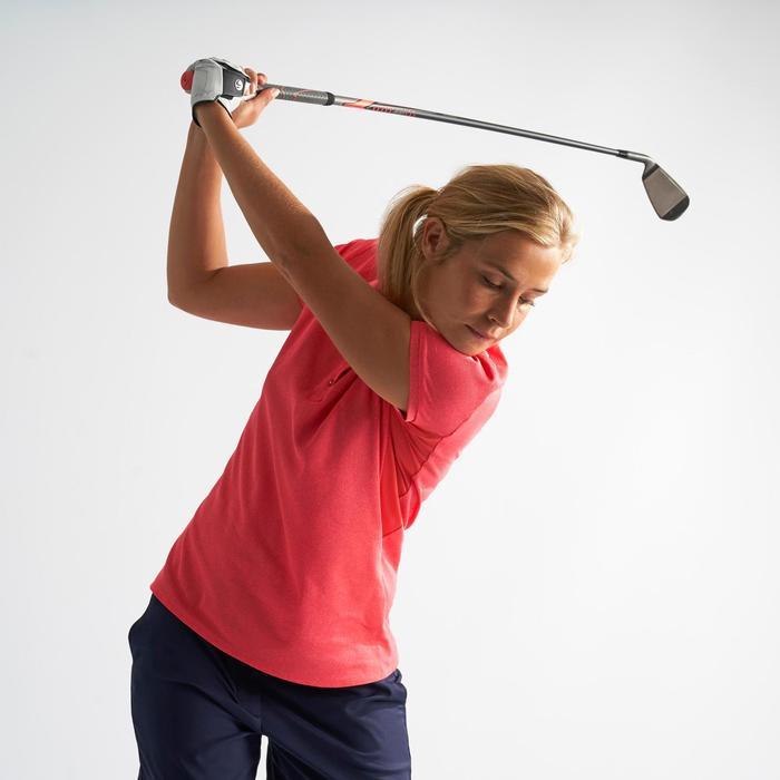Golf Poloshirt Damen atmungsaktiv erdbeerrosa meliert