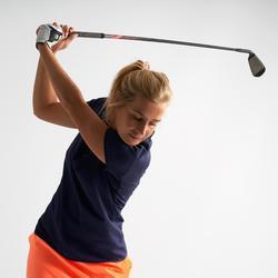 女款溫暖氣候短袖高爾夫球POLO衫-軍藍色