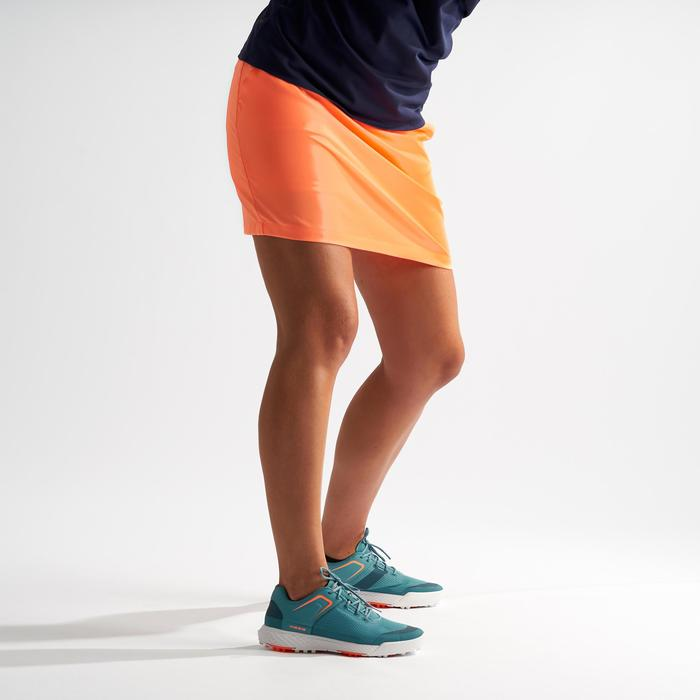 JUPE SHORT GOLF FEMME TEMPS CHAUD ORANGE CORAIL FLUO
