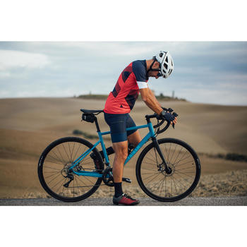 Fahrradschuhe Rennrad RC 500 (für SPD Cleats) WEINROT/GRAU