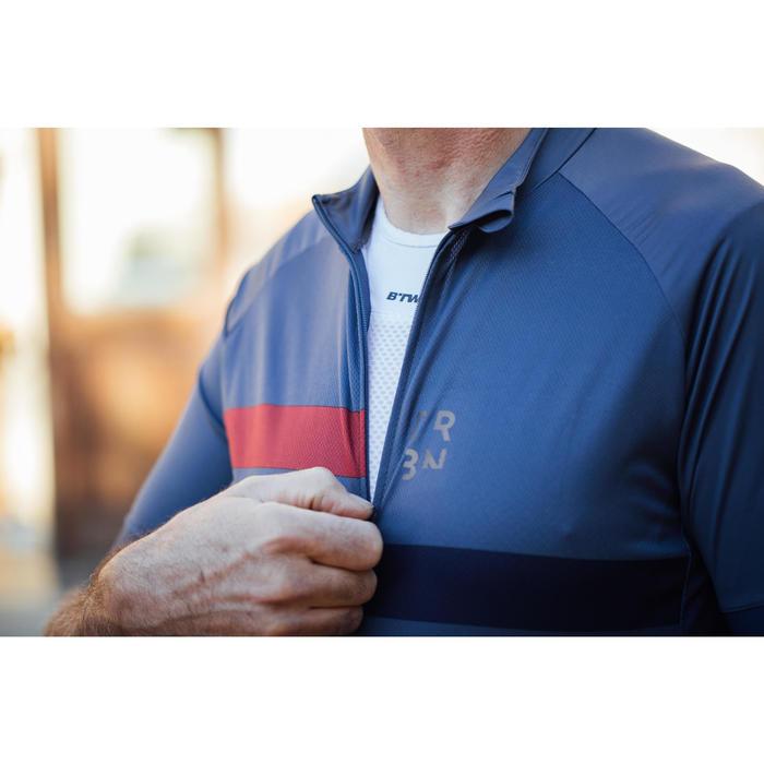 Wielershirt RC500 met korte mouwen voor heren blauw/bordeaux
