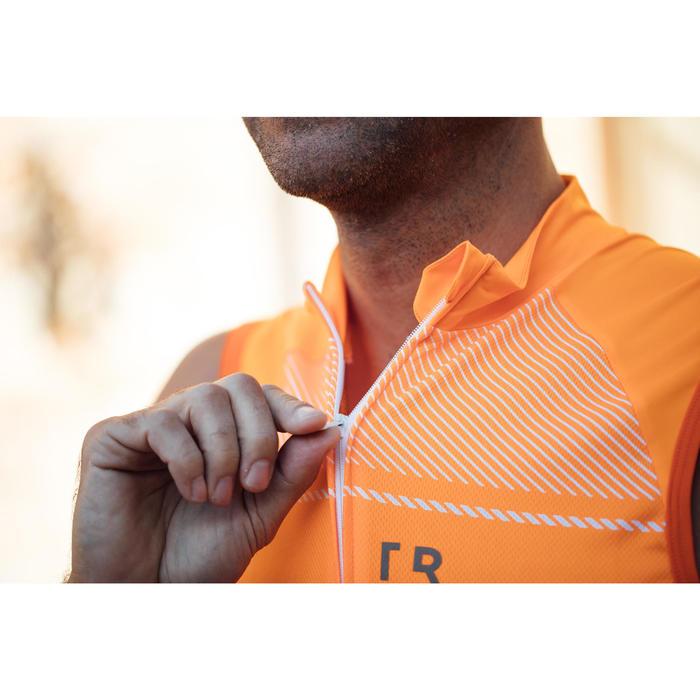 Mouwloos wielershirt RC500 voor heren oranje/wit